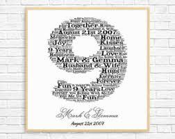 year wedding anniversary gift 9th anniversary etsy