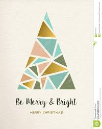 merry christmas tree triangle gold vintage card stock vector