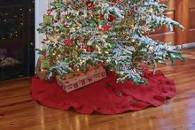Christmas Tree Skirt  Burlap In Red By Park Designs Home - Park designs home decor