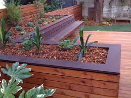 Decks With Benches Built In Hardwood Deck With Built In Bench And Planters Contemporary