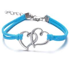 double heart charm bracelet images Wholesale double heart bracelets antique love heart leather jpg