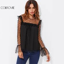 black sheer blouse colrovie dot mesh fluted cuff tunic blouse black sheer