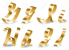 lettre decorative metal letters of english alphabet from gold ribbon royalty free cliparts