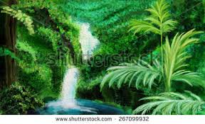 bright green jungle waterfall digital drawing stock illustration