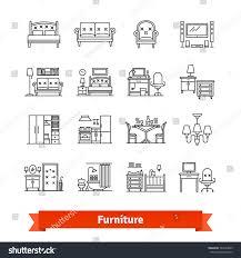 furniture home decor thin line art stock vector 543934069