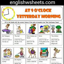 past continuous tense esl printable grammar exercise worksheet for