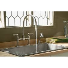 bridge kitchen faucet kohler k 7337 hirise two deck mount bridge kitchen faucet with