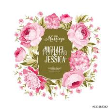 Marriage Wedding Cards Wedding Card With Blooming Flowers Isolated Over White Background