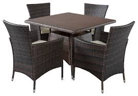 clementine outdoor multibrown wicker square dining 5 piece set