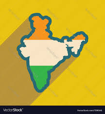 Flat Map Of World by Modern Flat Icon With Long Shadow Map Of India Vector Image