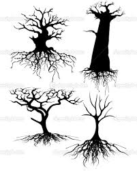 four different old tree silhouettes with roots jpg halloween