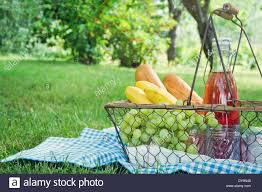 vintage picnic basket vintage picnic basket with fruit bread and juice on blue blanket