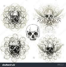 grunge skull ornaments stock vector 57691399