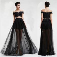 black two pieces off shoulder tulle lace party cocktail evening