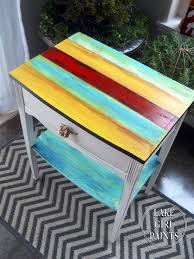 lake paints bright striped side table