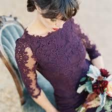 purple lace bridesmaid dress mermaid grape 3 4 sleeves bateau open back lace bridesmaid