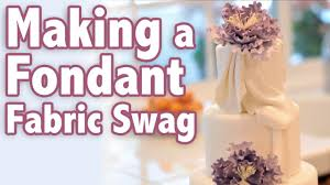 how to make a fondant fabric swag cake tutorial youtube
