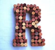 wine cork letter r made from real wine corks cork letters