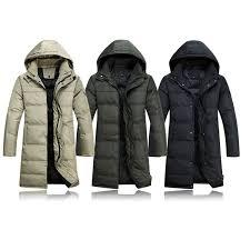komene men s long down jacket with hood s khaki at men s