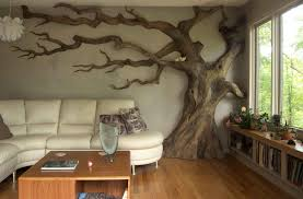 tree shaped diy creative bookshelves with white sofa and wooden