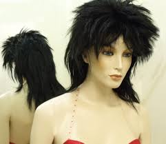 spiked hair with long bangs hire wig spiky mullet black long the party hut