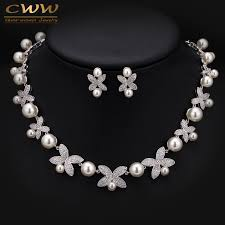 big pearl necklace wedding images High quality white gold color micro inlay cubic zirconia big pearl jpg