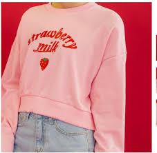 strawberry sweater sweater girly pink sweatshirt strawberry wheretoget