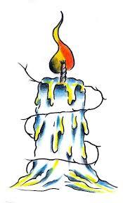 burning candle flash tattoo design