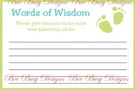printable baby shower word of wisdom advice cards bee busy designs