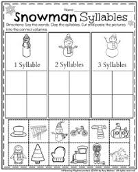 january kindergarten worksheets cut and paste syllable and