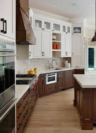 two tone kitchen cabinets brown black trim with hardwood floor search kitchen
