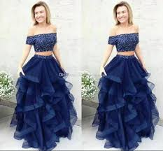 dh prom dresses 2017 newest two pieces quinceanera dresses the shoulder sweep