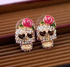 store stud earrings gold tone pink flower sugar skull stud earrings