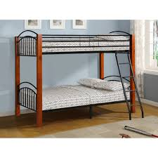 Wood And Metal Bunk Beds Wood And Metal Bunk In Cherry And Black