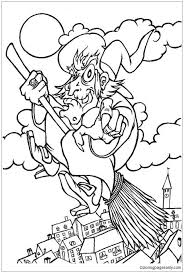 flying witch coloring page free coloring pages online