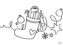 xmas stocking coloring page free printable coloring pages