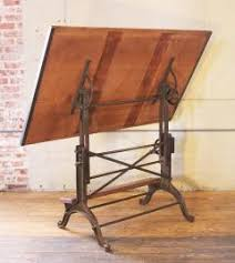 Wood Drafting Table Vintage Industrial Cast Iron And Wood Frederick Post Adjustable