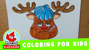 reindeer christmas coloring pages for kids maple leaf learning