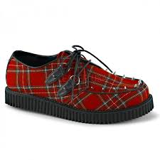 creeper 603 red plaid mens loafer with spikes rockabilly gothic
