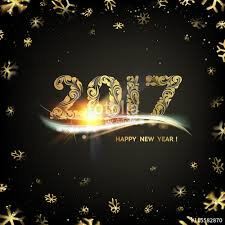happy new year card gold template black background with