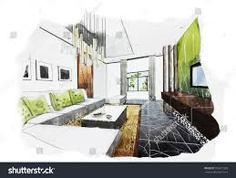 Interior Decoration Sketches Interior Perspective Sketch Design Watercolor Sketching Stock