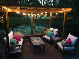Patio Globe Lights Colorful Outdoor Living Space Makeover
