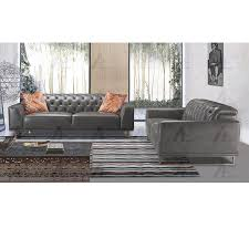 low back sofa 2 pcs tufted low back top grain gray italian leather sofa set low