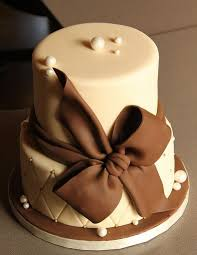 brown cake tier ivory wedding cake with brown bow jpg