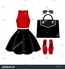 set trendy womens clothes skirt top stock vector 420768172