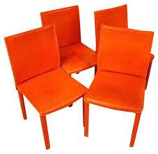 roche bobois orange leather chairs set of 4 chairish
