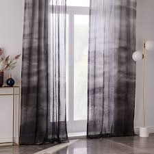 Ombre Sheer Curtains Sheer Cotton Painted Ombre Curtains Set Of 2 Slate West Elm