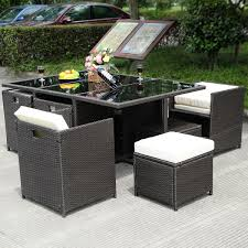 Rattan Patio Table And Chairs 11 Pcs Wicker Rattan Patio Outdoor Dinning Cushion Seat Outdoor