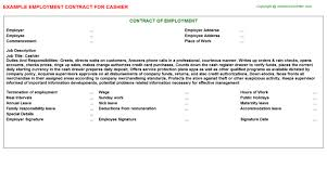 cashier employment contract