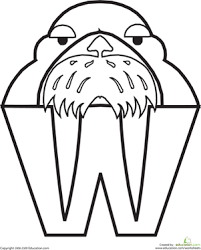 coloring page for walrus animal alphabet letters coloring pages education com